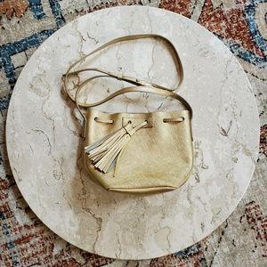 J. Crew Gold Leather Mini Tassel Bucket Bag